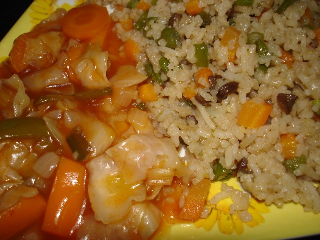 veg fried rice and veg hot and sour